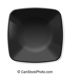 Black plate - Illustration of empty black dish isolated on...