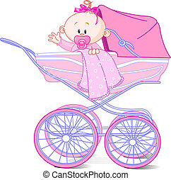 Baby girl in carriage