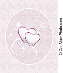 Ornamental frame with hearts. Pattern for greeting card....