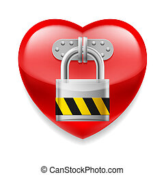 Red heart with lock - Glossy red heart with padlock. Love or...