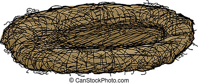 Bird Nest - Doodle of isolated bird nest over white...