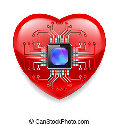 Red heart with microchip - Shiny red heart with microchip...