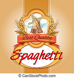 Spaghetti pack label - Best quality delicious wheat grain...
