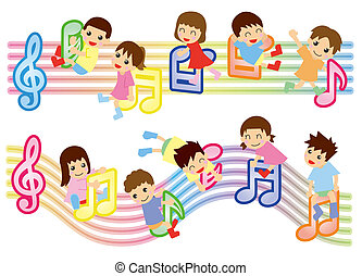 musical score and kids (Asian)
