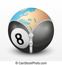 Planet Earth inside billiard ball Vector sport Illustration...