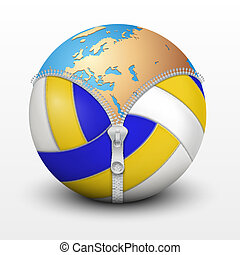 Planet Earth inside volleyball ball. Vector sport...