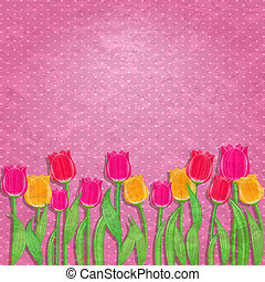 Yellow and Red Tulip Flower on Old Pink Wallpaper