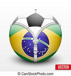 soccer ball inside Brazil symbol - Soccer ball inside Brazil...