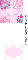 Pink Floral Invitation Card with Vingette Label in Center...