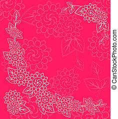 White Flower Silhouettes in Corner on Pink Background