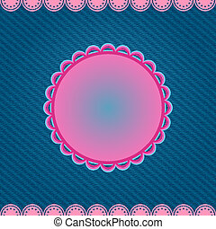 Pink Round Label on Denim Blue Background