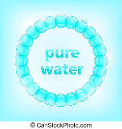 Blue Pure Water Concept. Drop Circle with Text