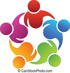 Trabalho equipe, negócio, sócios, logotipo