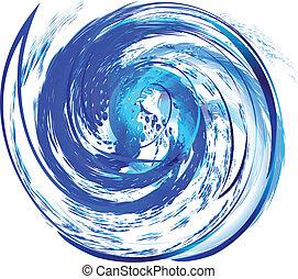Swirly splash wave logo