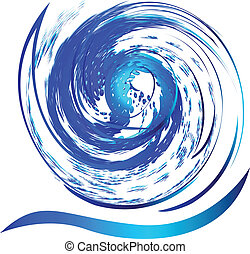 Swirly splash wave water logo - Splash beach water...