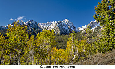 Idaho nature with forest in the fall with snow