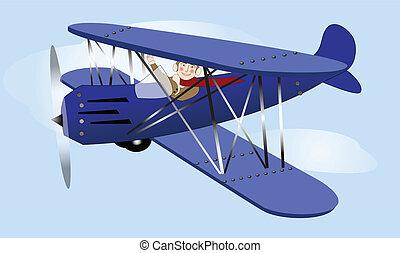 Flying Vintage Airplane