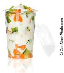 jogurt, owoc, Szkło