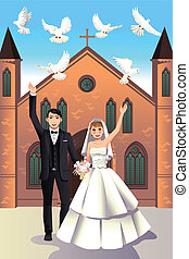 Wedding Couple releasing white doves - A vector illustration...