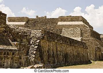 Ancient structure of stone in Monte Alban, Mexico - Ancient...