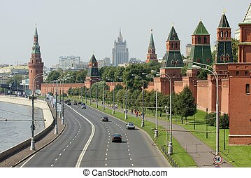 Moscow downtown with the kremlin walls
