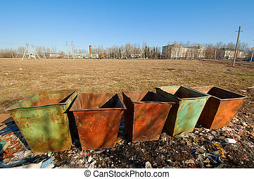 Waste containers row