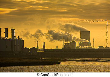 Power plant at sunrise