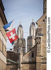 Zurich, Switzerland - The Grossmunster towers behind Fraumünste