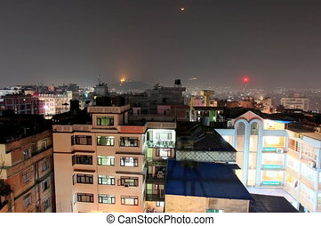 4K. Kathmandu. Nepal - 4K. Buildings with flats at night,...