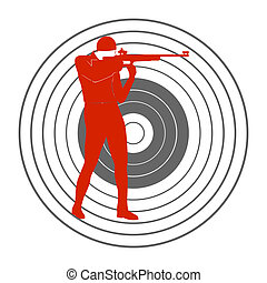 Bullet shooting-3 - Summer kinds of sports. Illustration on...