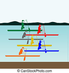 Competitions in rowing and canoeing - Summer kinds of sports...