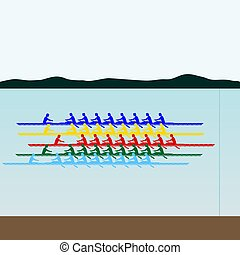 Competitions in rowing - Summer kinds of sports Illustration...