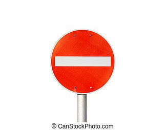 No entry traffic sign isolated on white background