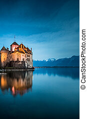 The Chillon Castle at the Lake Geneva