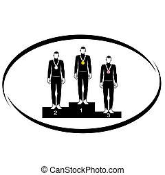 Pedestal - Summer kinds of sports. Illustration on a sports...