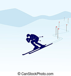 Slalom - Winter sports competitions Illustration on the...