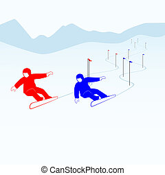 Slalom-1 - Winter sports competitions Illustration on the...