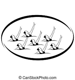 Synchronized swimming - Summer kinds of sports. Illustration...