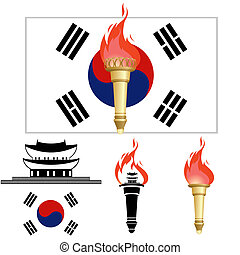 The Olympics in Korea - Korea flag and architecture Burning...