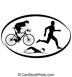 Triathlon - Summer kinds of sports. Illustration on a sports...
