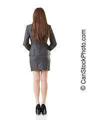 Rear view business woman of Asian, full length portrait...