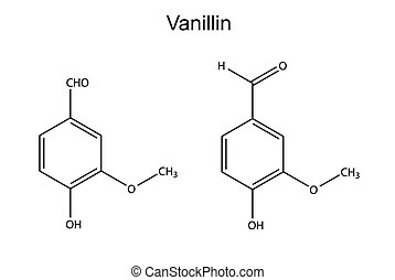 Chemical formula of vanillin molecule flavor enhancer, 2D...