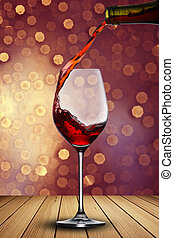 Red Wine on wood table