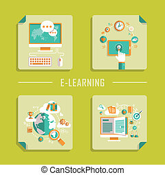 flat design vector icons for online education