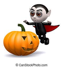 3d Dracula pumpkin - 3d render of Dracula with a pumpkin