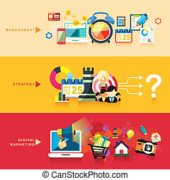flat design for management, strategy and digital marketing -...