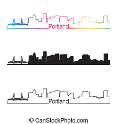 Portland skyline linear style with rainbow skyline linear...