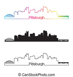 Pittsburgh skyline linear style with rainbow in editable...