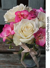 Shabby Chic posy - Pretty posy of cream roses and pink...