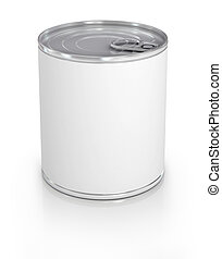 Can with blank white label isolated on white.